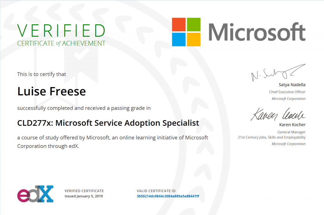Certificate of Microsoft Service Adoption Specialist Luise Freese received in January 2019